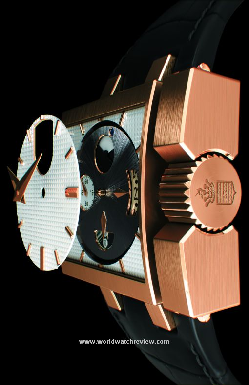 De Grisogono Otturatore Automatic watch in rose gold (side view, rotating dial explode)