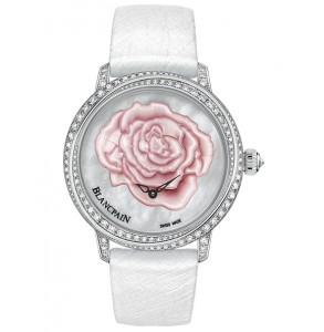Features a New Womens Blancpain Off-centred Saint Valentin Rose Dial Diamonds Bezel Fake Watch 3650-4944R-58B
