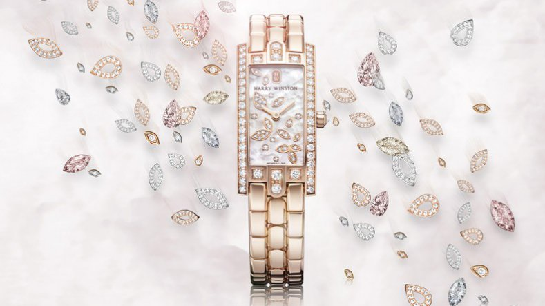 The Luxury And Elegant Copy Harry Winston Avenue C Mini Lily Cluster Rose Gold Watch