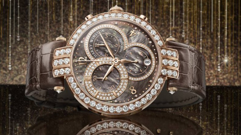 The Brilliant Harry Winston Premier Lady Chronograph Brown-Chocolate Dial Diamond Bezel Replica Watch
