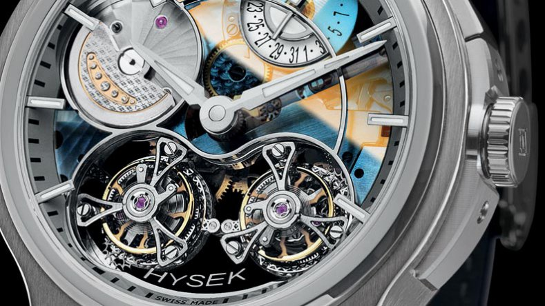 Introducing The New Mens Sapphire Dial Hysek Verdict Double Tourbillon Replica Watch