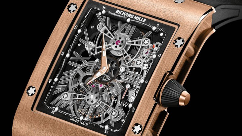 Ultra Thin Rose Gold Richard Mille RM 017 Tourbillon Copy Watch with GMT