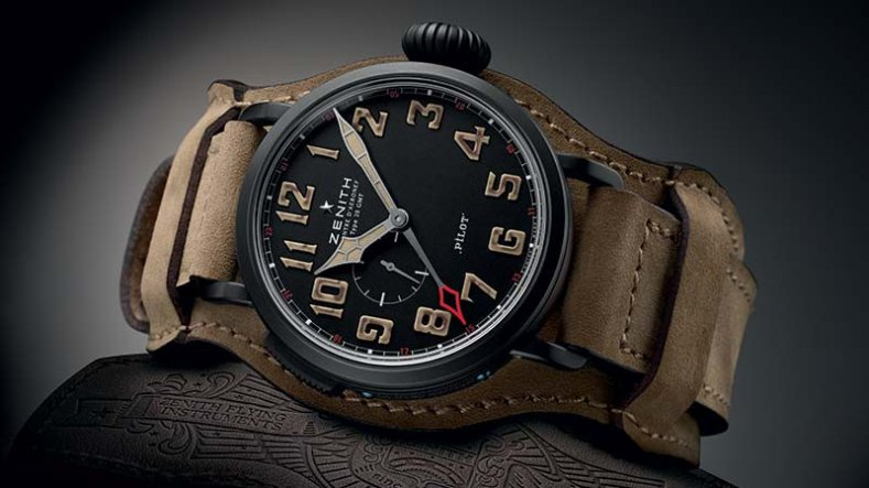 Black DLC-coated Titanium Zenith Pilot Type 20 GMT 1903 Brown Leather Strap Replicas