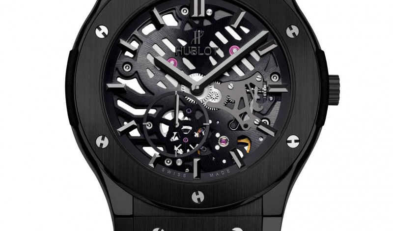 Ultra-Thin Replica Hublot Classic Fusion Classico Skeleton All Black Watch