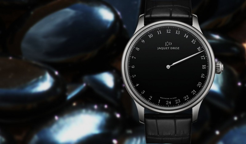 Cheap Price Replica Jaquet Droz Grande Heure Onyx Watch with Black Dial