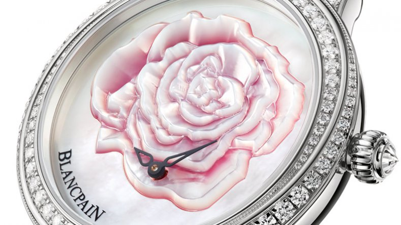 Features a New Womens Blancpain Off-centred Saint Valentin Rose Flower Dial Diamonds Bezel Fake Watch 3650-4944R-58B